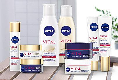 NIVEA Vital Soja und NIVEA Vital Calcium-Pflegeserien: Um die Zeichen der Hautalterung zu mindern.