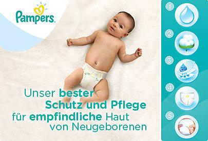 Die Pampers New Baby Sensitive Windeln sind speziell für Neugeborene entwickelt worden. Sie schützen die zarte Haut der Babys.