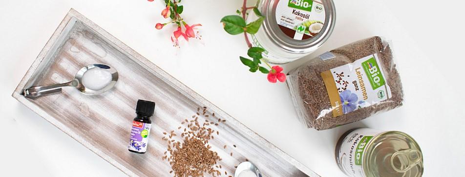 DIY Naturkosmetik: Körpermilch mit Leinsamen, Lavendel und Kokos.