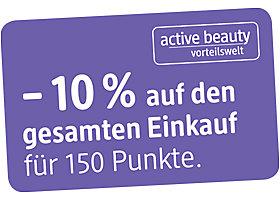 -10 Prozent auf den gesamten Einkauf - nur mit dm active beauty Karte.