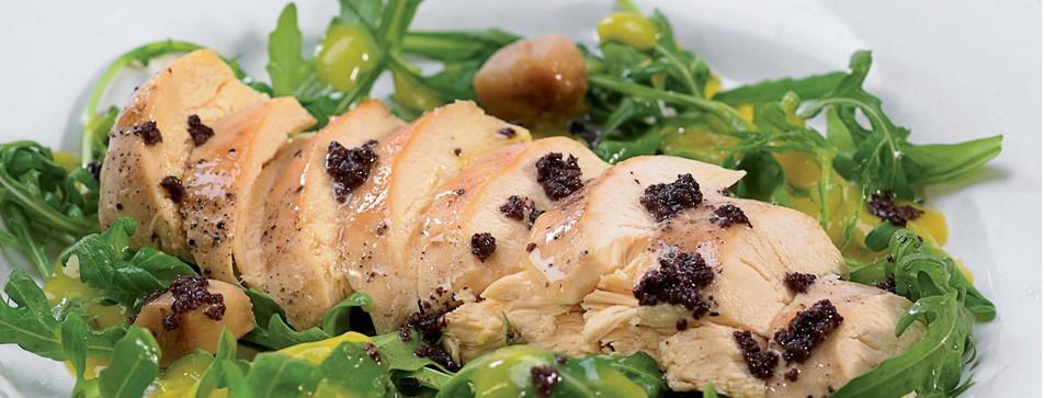 Weihnachtsessen: Hühnerbrust mit Tapenade und Rucola