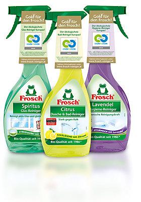 Frosch Citrus Dusche- und Badreiniger, Frosch Spiritus-Glasreiniger, Frosch Lavendel Hygiene-Reiniger: Diese Reiniger wurden zertifiziert.