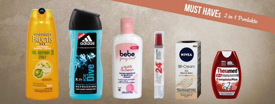 2in1 Produkte wie Shampoo und Spülung in einem sparen Platz und Zeit.