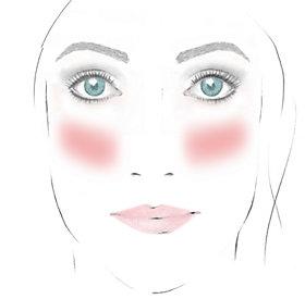 Rouge auftragen: langes Gesicht - mehr Fülle