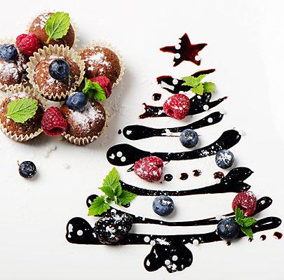 Muffins mit Schoko-Weihnachtsbaum