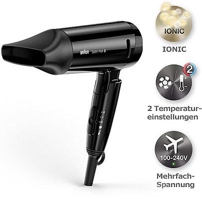 Leicht und kompakt, Styling ohne Kompromisse mit dem Braun Satin Hair 3 Style & Go Haartrockner