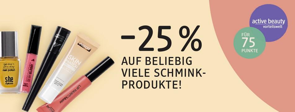 Jetzt minus 25 % Rabatt auf alle Schminkprodukte im dm Online Shop.