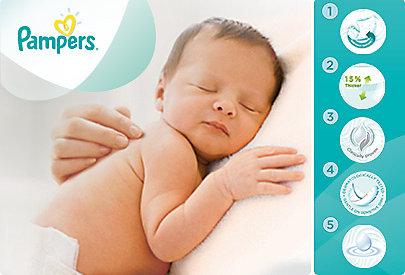 Die Pampers Sensitive Feuchttücher sind sanft zu Babys zarter Haut.