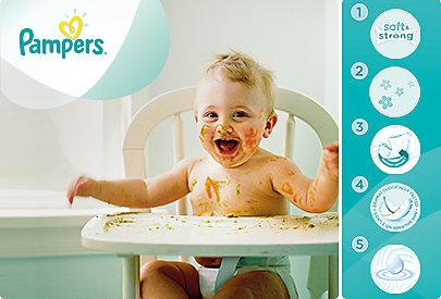 Für Frische und Pflege auf Babys Haut: Die Pampers Fresh Clean Feuchtttücher.