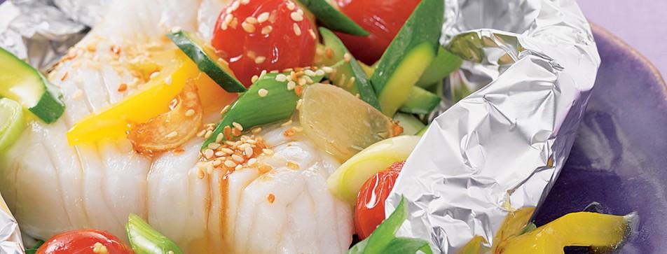 Kalorienarme Rezepte: Fisch-Gemüse-Päckchen
