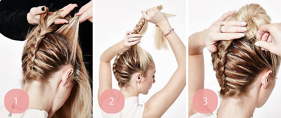 Flechtfrisur: Braided Topknot in 3 Schritten.