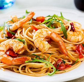 Glutenfrei: Spaghetti mit Garnelen und Rucola