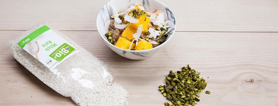 Rezept: Kokosmilchreis mit Mango.