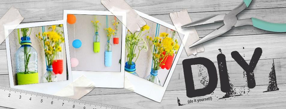 DIY Dekoidee für den Garten: Hängende Vasen aus Plastikflaschen