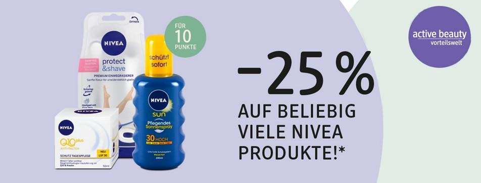 Jetzt 25% beim Kauf von NIVEA Produkten* sparen!