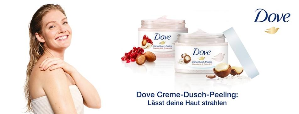 Gepflegte Haut mit den Dove-Dusch-Peelings