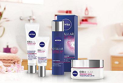 Die Regeneration der Zellen wird mit NIVEA CELLular Perfect Skin Pflege angeregt - für Frauen ab 35 empfohlen.