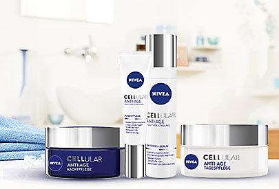 NIVEA CELLular Anti-Age Pflege verjüngt die Haut von innen heraus und ist ab dem Alter von 40 geeignet.