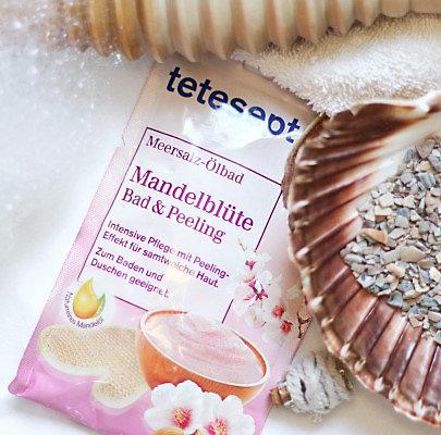 Tetesept Meersalz-Ölbad & Peeling Mandelblüte für erholsame Stunden in der Wanne.