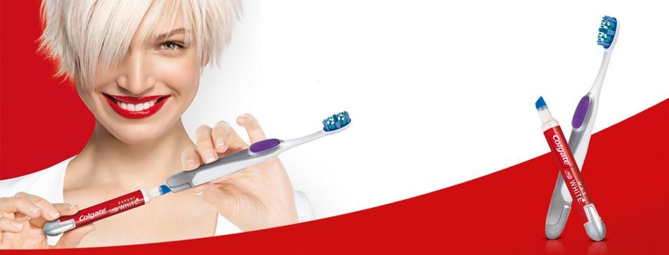 Testen Sie die Colgate Max White Expert White Zahnbürste + Whitening Stift.